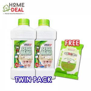 Kleenso PROMOTION - Serai Wangi Liquid Wax Floor Cleaner 1L (TWIN PACK) FREE 1x Pesso Mos-NO-Bite Wet Tissue (洁星优惠- 买2洁星香茅蜡地板清洁剂免费Pesso 防蚊湿纸巾)