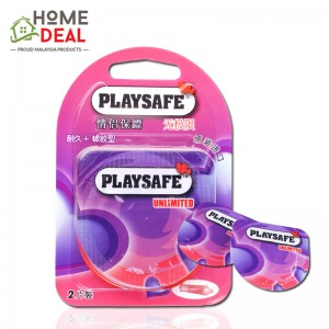 Playsafe Easy Pack Long Love + Ribbed 2's (PLAYSAFE 避孕套润滑螺纹情趣2片装)