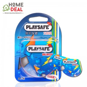 Playsafe Easy Pack Ribbed + Dotted 2's (PLAYSAFE避孕套螺纹+凸点2片装)