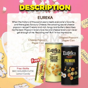 Eureka Cheese and Original Popcorn Flavor with Free 1 Bottle BKC Golden Cutie Lemon Candy 有礼佳双口味优惠 免费马马廣济黄金仔糖果