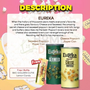 Eureka Seaweed and Cheese Popcorn Flavor with Free 1 Bottle BKC Golden Cutie Lemon Candy 有礼佳双口味优惠 免费马马廣济黄金仔糖果