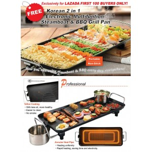 Korean 2in1 Electronic Steamboat & BBQ Grill Pan