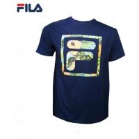 FILA Cotton Graphic T-Shirt - D4 Navy Blue (斐乐纯棉图形T恤-D4 深蓝色)