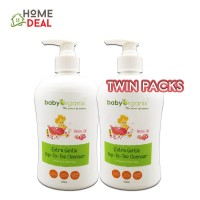 Baby Organix Extra Gentle Top to Toe Cleanser 400ml (Rose Oil) TWIN PACKS