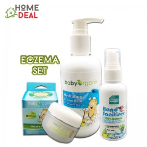 Baby Organix Eczema Set- (Hydrating Cream Bath, Hand Sanitiser, Nature First Aid)