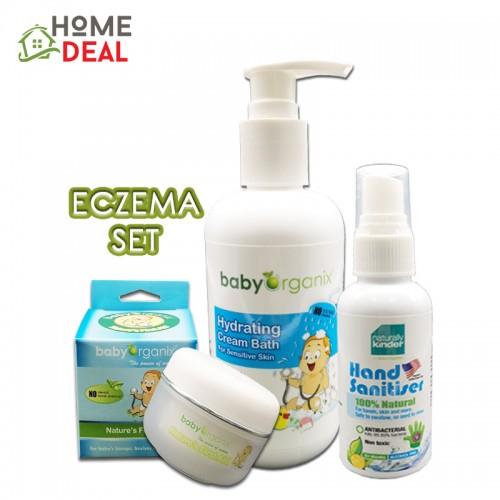 Baby Organix Eczema Set- (Hydrating Cream Bath, Hand