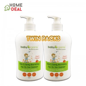Baby Organix Kids & Family Nourishing Top to Toe Cleanser 400ml (Peach) TWIN PACK