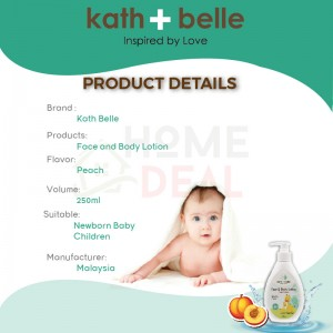 Kath + Belle Face and Body Lotion Peach Flavor 250ml (Kath + Belle脸部和身体桃子乳液)