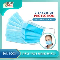 (READY STOCK) 3 Ply Surgical Mask / 50 PCS Face Mask Adult Size/ 3 Layer Disposable Non Flammable
