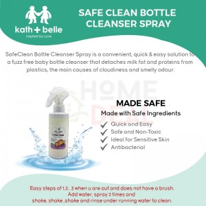 KATH + BELLE SAFE CLEAN - BOTTLE CLEANSER SPRAY 250ML (TWIN PACK) (Kath + Belle瓶清洁剂喷雾)(双套)