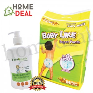 Baby Like Super Pants M 58pcs + Baby Organix Kids & Fam Top to Toe Cucumber flavour (Baby Like尿片 M 58片 + Baby Organix家庭肥皂-青瓜味)