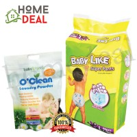 Baby Like Super Pants L 48pcs + Baby Organix O'Clean Laundry Powder 1 KG (Baby Like尿片 L 48片 + Baby Organix清洁洗衣粉 1KG)