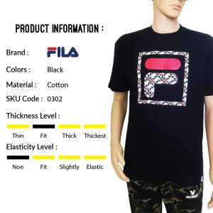 FILA 0302 Basic T Shirt ( Black) (斐乐0302黑色T恤)