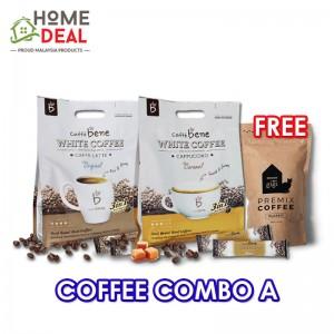 Caffe Bene White Coffee Original + Caffe Bene White Coffee Caramel Free Maison de Gigi Premix Coffee (咖啡陪你原味白咖啡 + 咖啡陪你焦糖白咖啡加免费Maison de Gigi摩卡三合)