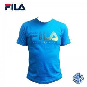 FILA Cotton Graphic T-Shirt - D3 Turquoise Blue (斐乐纯棉图形T恤-D3 翠蓝色)